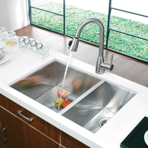 Vigo Undermount Double Bowl Kitchen Sink with Dual Pull-Out Spray Faucet in Satin