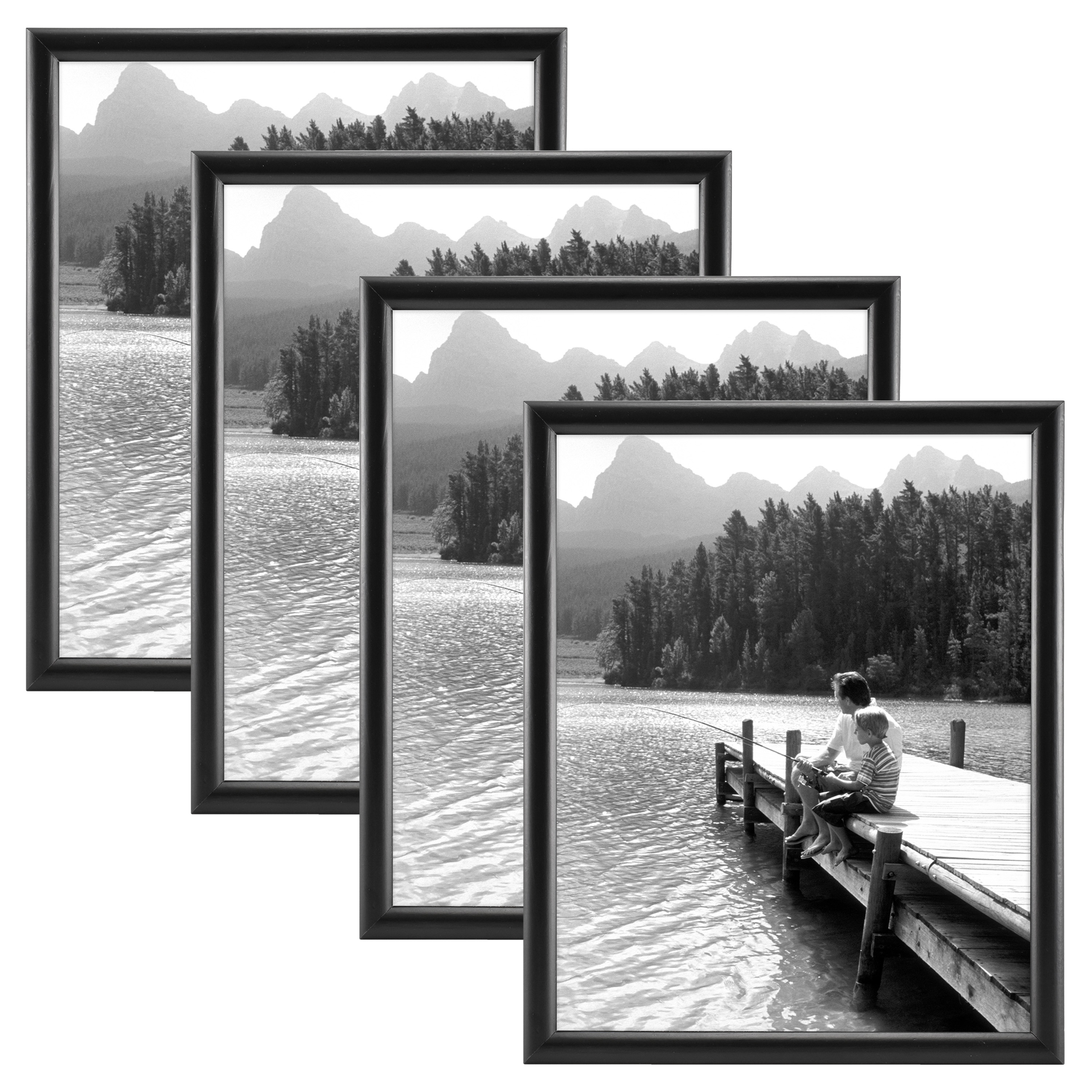 "Gallery Bullnose Wood 8"" x10"" Picture Frame Set, Set of Four"