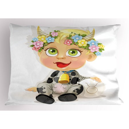 Zodiac Taurus Pillow Sham Happy Baby with Little Horns and Flowers Cow Bell and Costume Kids Cartoon, Decorative Standard King Size Printed Pillowcase, 36 X 20 Inches, Multicolor, by Ambesonne (Cow Baby Costume)