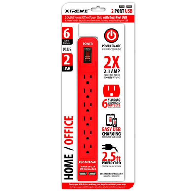 Xtreme Cables 28635 6 Outlet Power Strip With Dual Port USB, 1.5 ft. Cord - Red