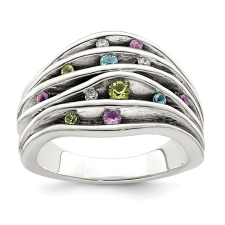 Sterling Silver Antiqued Blue Topaz Peridot Amethyst and Cubic Zirconia Ring - Ring Size: 6 to 8 (Antique Amethyst Ring)