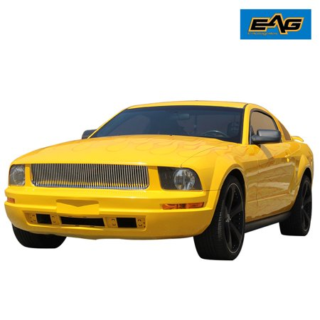 EAG 05-09 Ford Mustang V6 Chrome Upper Hood Billet Packaged Grille with ABS Shell Billet Grille Shell Package