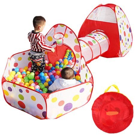 WALFRONT 3 in 1 Kids Ball Pit Play Tent with Tunnel