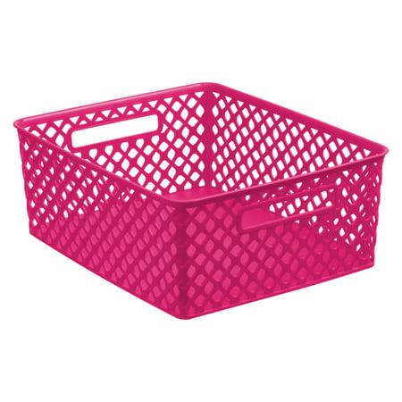 Mainstays Medium Deco Basket - Pink
