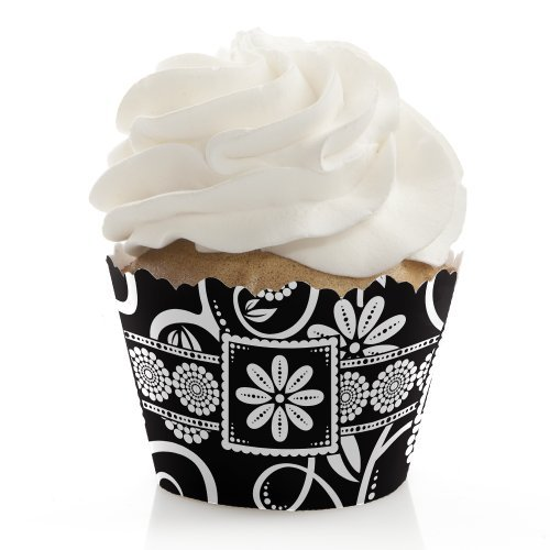 Modern Floral Black & White - Party Cupcake Wrappers (set of 12)