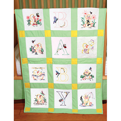 "Fairway Needlecraft Duck Baby Stamped Baby Quilt Blocks, 9"" x 9"""
