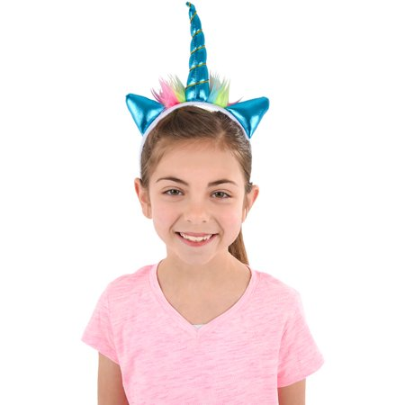 Soft Plush Blue Mystical Magical Unicorn Horn Headband Costume Accessory (Costume Horn)