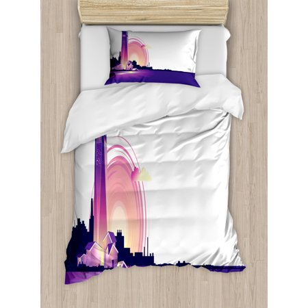 Coastal Duvet Cover Set, Lighthouse at Sunset and Silhouette of City on Back, Decorative Bedding Set with Pillow Shams, Indigo Pastel Pink Champagne Charcoal Grey, by Ambesonne ()