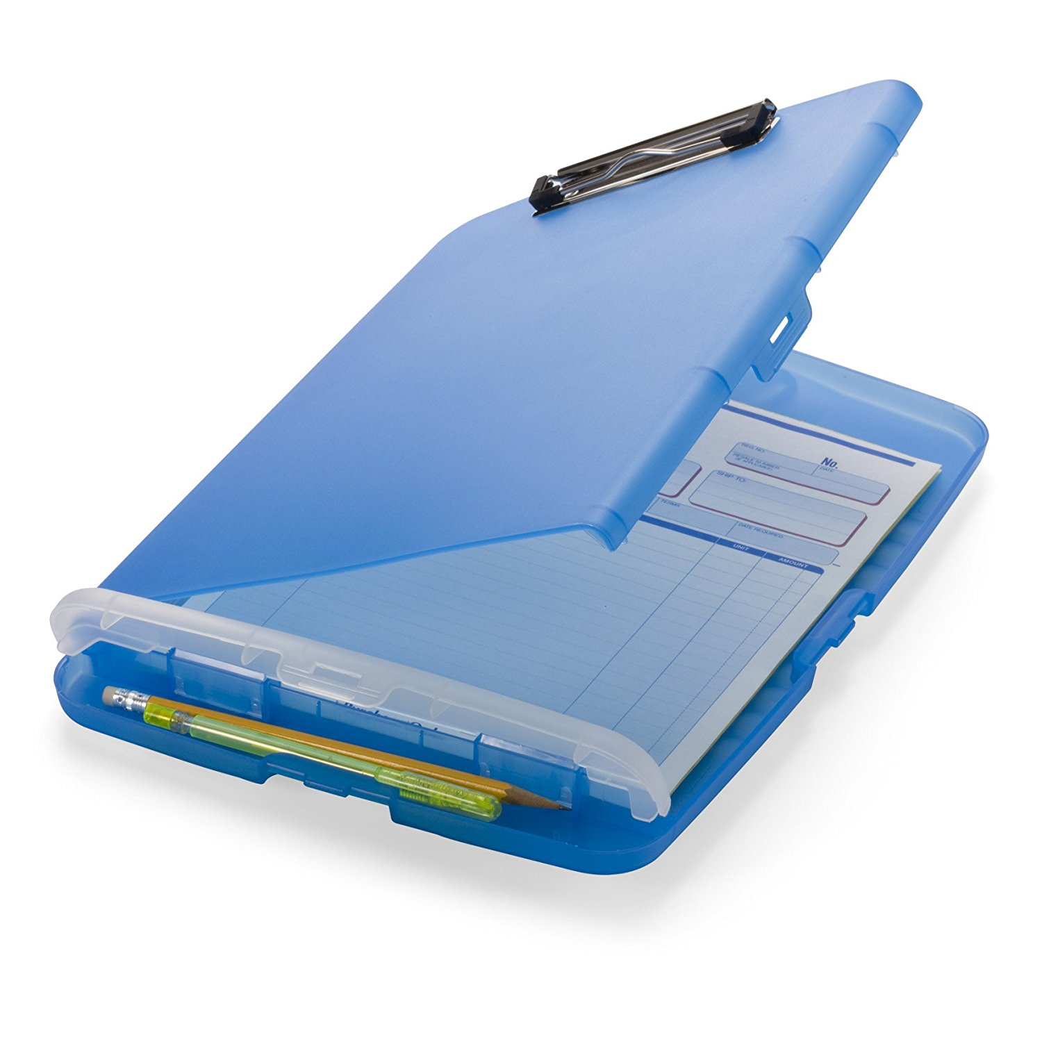 Slim Clipboard Storage Box, Translucent Blue (83304), Forms Aluminum Size Black 83309 2Pack Orange CarryAll Capacity 83357 from 83353 10 11.., By Officemate
