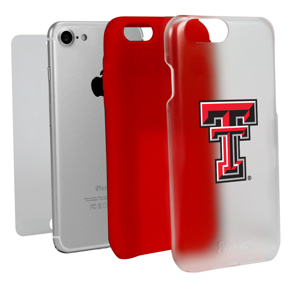 Texas Tech Red Raiders Clear with Red Hybrid Case for iPhone 7/8 with Guard Glass Screen Protector NCAA