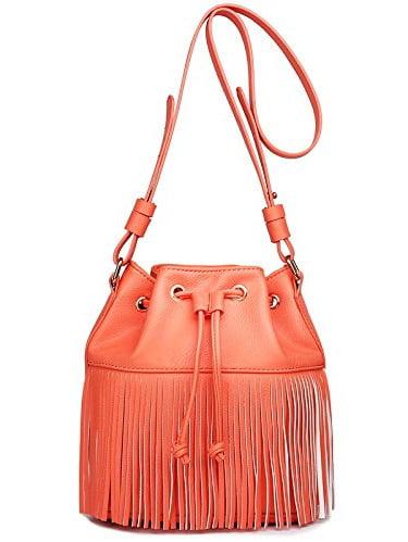Miss Lulu Leather Look Fringe Tassel Drawstring Bucket Hobo Shoulder Bag (Coral)