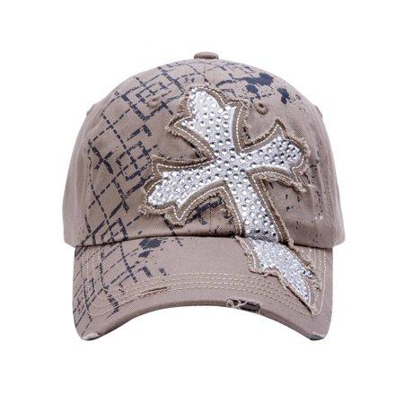 TopHeadwear Beaded Cross Distressed Adjustable Baseball Cap - Beaded Graduation Caps