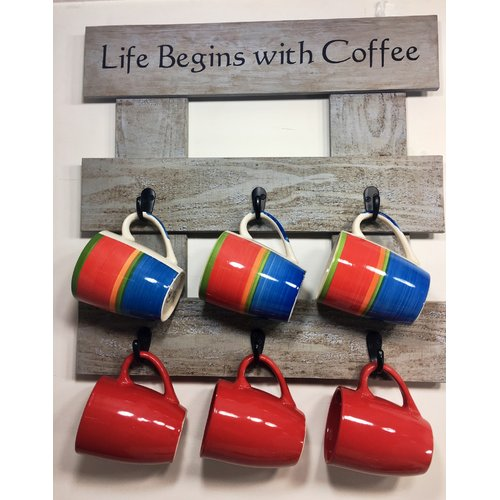 Rogar Pallet Wood 'Life Begins'' Coffee Rack