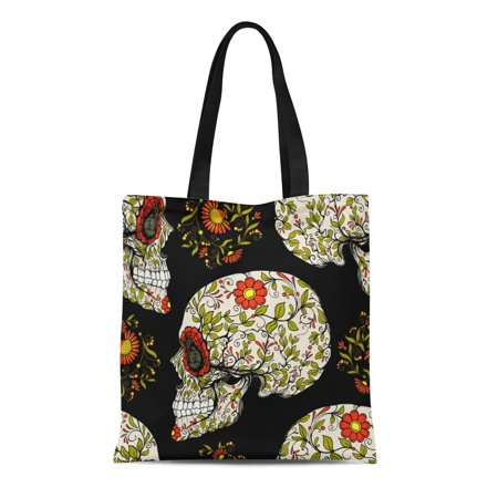 ASHLEIGH Canvas Tote Bag Red Halloween Sugar Skull and Floral Patter Pattern Calavera Reusable Shoulder Grocery Shopping Bags Handbag