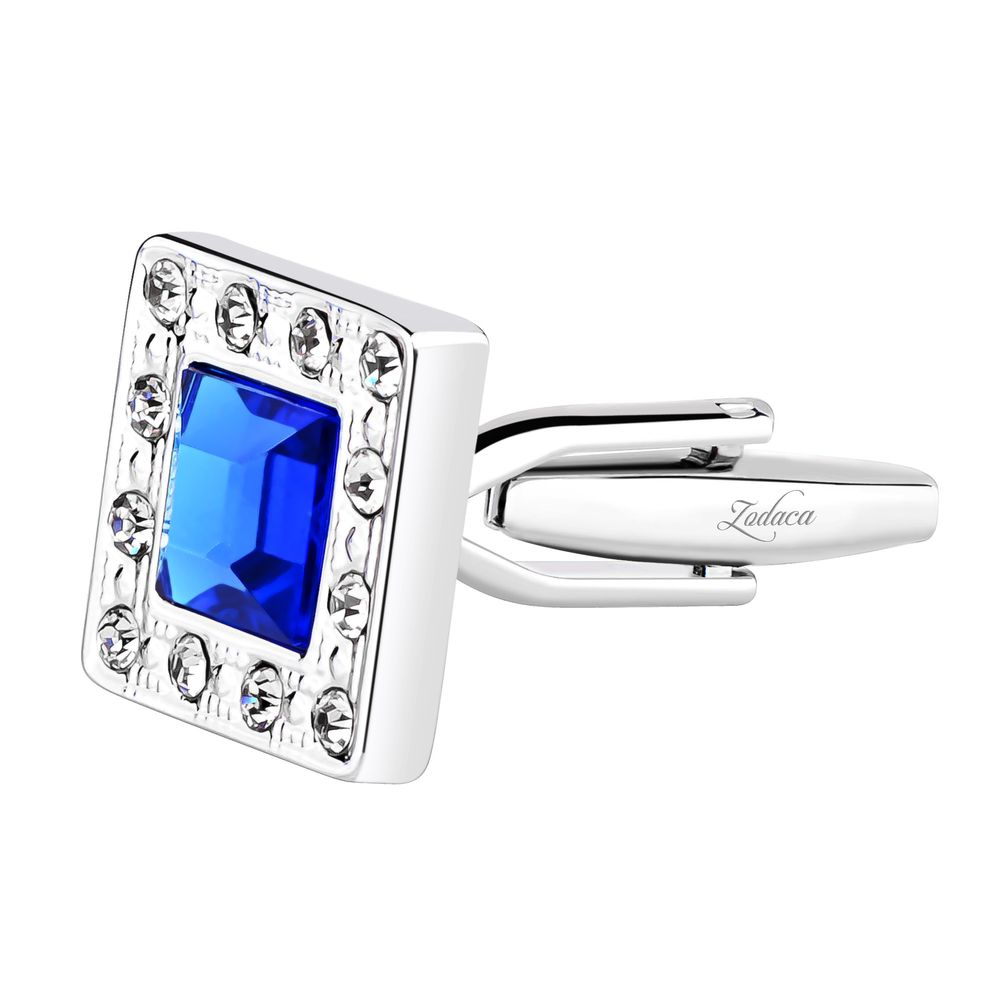 Zodaca Vintage Mens Silver Square Jewels with Blue Diamond Wedding Party Gift Novelty Shirt Cuff links Cufflinks - image 2 de 4