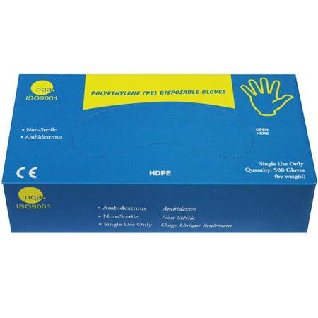 Great Glove High Density Polyethylene (HDPE) Food Service Gloves,  HDPE500-XL-BX, (Pack of 500)