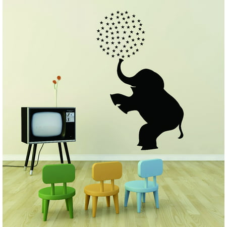 (Custom Wall Decal : Huge Circus Elephant Animal School Preschool Daycare Mural 12x18