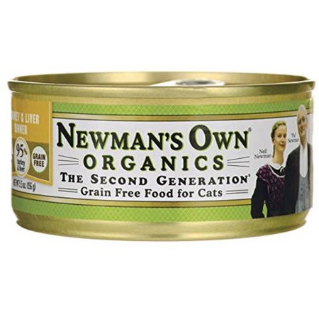 Newman's Own Usda Organic 95 Percent Turkey and Liver Grain-Free Dinner For Original Cats, 5.5 oz, 24-Pack (Newman Own Cat Food)