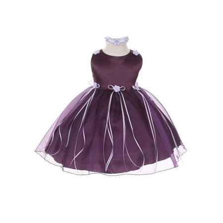 Kids Dream Baby Girls Eggplant Organza Rosebud Ribbon Flower Girl Dress