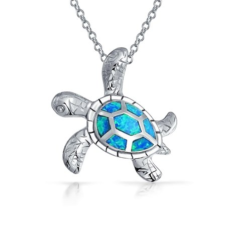 Large Nautical Blue Created Opal Inlay Sea Tortoise Turtle Pendant Necklace For Women For Teen 925 Sterling Silver