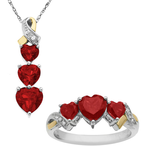 """Duet Created Ruby Diamond Accent Sterling Silver and 14kt Yellow Gold Pendant and Ring Set, 18"""""""