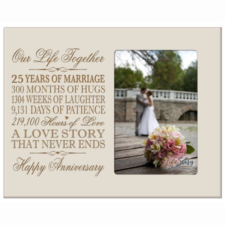 25th Year Anniversary Engraved Picture Frame - Our Life Together - Holds 4x6 photo (25th Anniversary Frame)