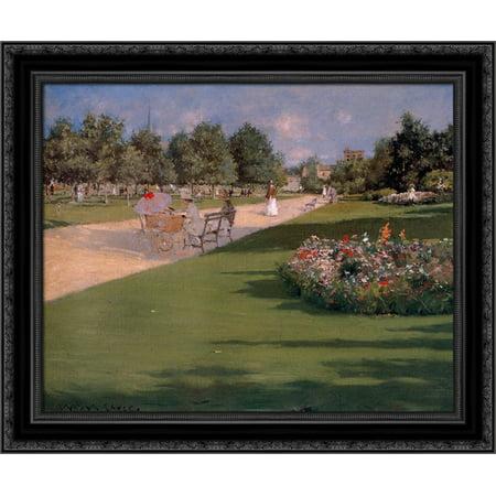 Tompkins Park  Brooklyn 24X20 Black Ornate Wood Framed Canvas Art By Chase  William Merritt