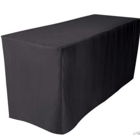 4' ft. Fitted Polyester Table Cover Wedding Banquet Event Tablecloth Black