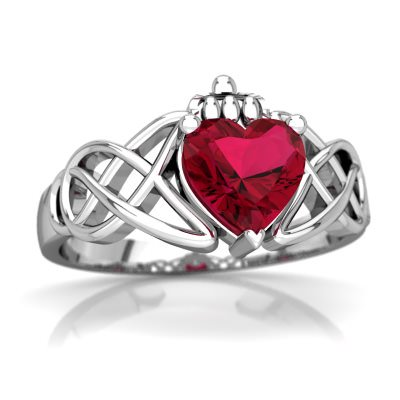 - Lab Ruby Claddagh Celtic Knot Ring in 14K White Gold