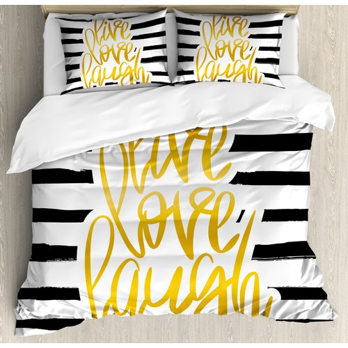Ambesonne Live Laugh Love Romantic Poster Design with Hand Drawn Stripes and Calligraphy Duvet Cover Set