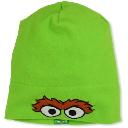 Sesame Street Oscar The Grouch Big Face w/ Eyes & Eyebrows UV Headwear Boys Winter Fleece Slouchy Toque Green Hat Cap UPF 50+ Coppertone - Oscar The Grouch Headband