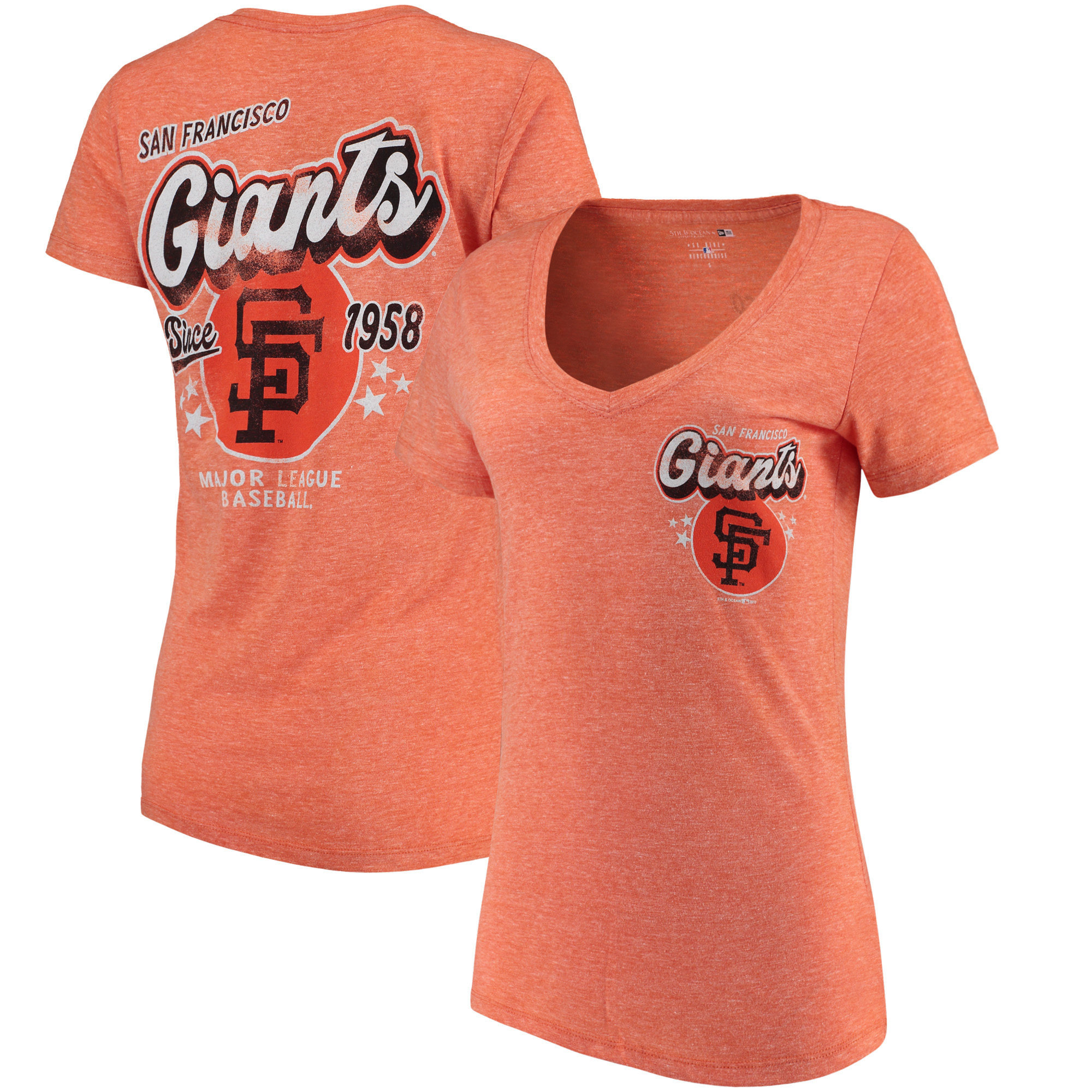 San Francisco Giants 5th & Ocean by New Era Women's Cooperstown Collection Tri-Blend V-Neck T-Shirt - Heathered Orange