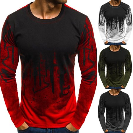 Men Long Sleeve Blouse T-shirt Round Neck Shirts Casual Slim Fit Tee Tops New