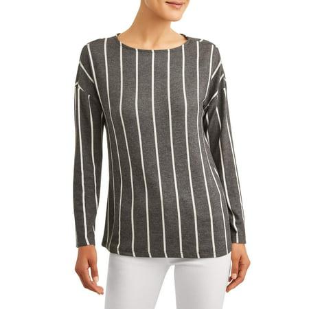 Women's Vertical Stripe Soft Boatneck Top