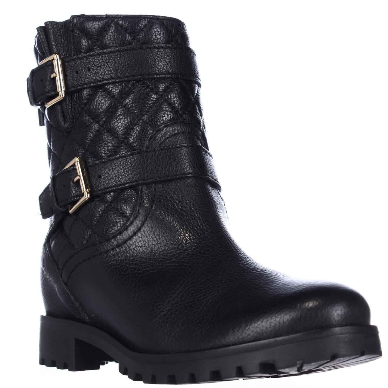 Womens Kate Spade Samara Quilted Motorcycle Boots, Black