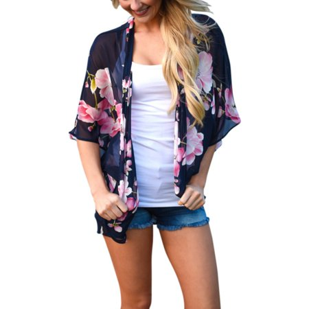 V-neck Women Jacket (Fashion Women 1/2 Roll Sleeve Sun Protection Women's V-Neck Floral Casual Loose Chiffon Cardigan Coat Blouse Beach )