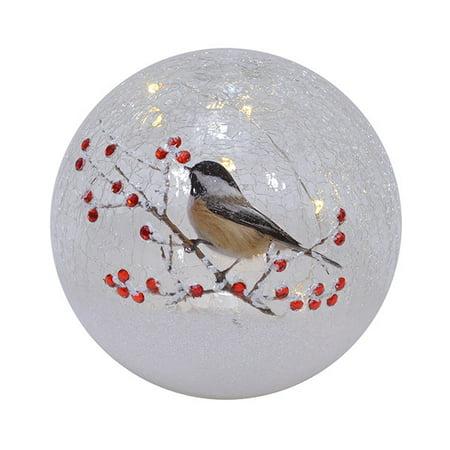 Mark Feldstein MFYB6CS Crackle Glass 6 inch Globe Chickadee Solo