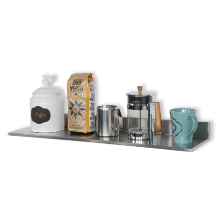 Vantage Point Silver Wall Shelf (Stainless Steel Multipurpose Wall Mount Kitchen Pantry Shelf and Modern Design Floating Shelf Silver)