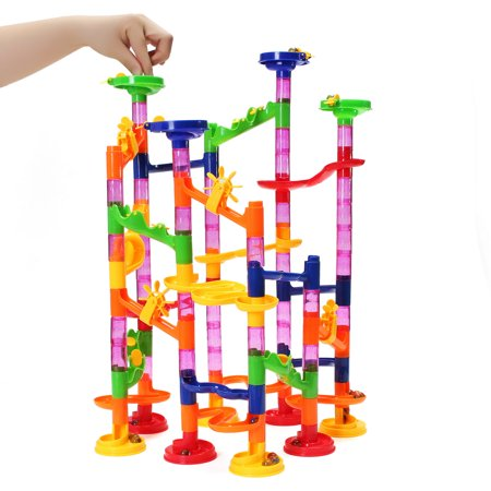 FUNTOK 105-Piece Kids Toy Transparent Plastic Building Block Construction Round Beads Running Track for STEM, Learning, Education w/ 75 Structure Pieces, 30 Marble (Marble Toys)