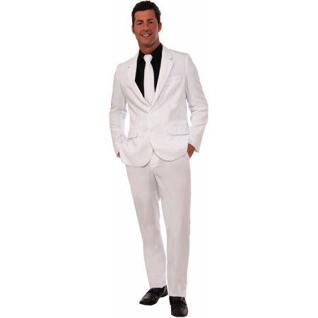 Adult Mens Formal Evening Gentlemens Attire White Suit And Tie Costume - 80s Attire Male