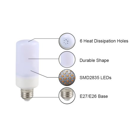 Tomshine LED Flame Flickering Effect Fire Light Bulb 3 Lighting Modes E26 Base SMD2835 Creative Decorative Lamp for Party Holiday Birthday Gift - image 3 of 7