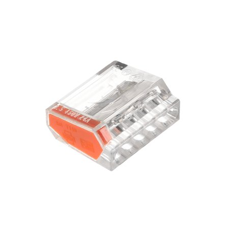 Push-In Electrical Wire Connectors 18-12 Awg 5-Port 450V Clear Orange 25 Pcs - image 3 of 3