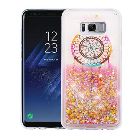 promo code 6ed39 50293 Samsung Galaxy S8 PLUS Phone Case BLING Hybrid Liquid Glitter Quicksand  Rubber Silicone TPU Protector Hard Cover - Dream catcher Gold Stars