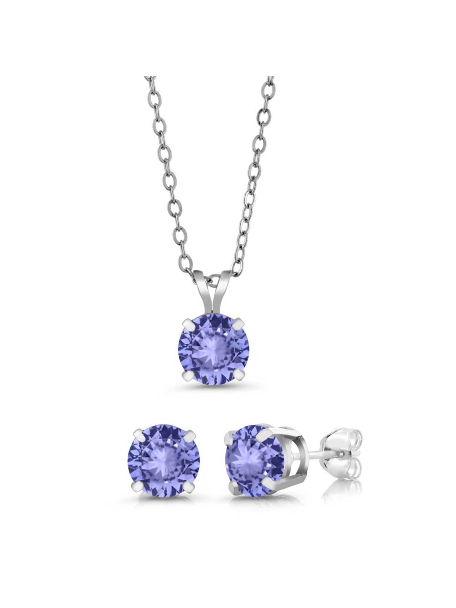 2.40 Ct Round 6mm Blue Tanzanite AAA 925 Silver Stud Pendant Earrings Set by