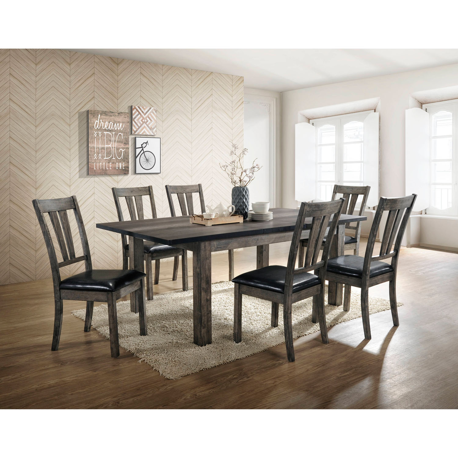 Cambridge Drexel 7 Piece Dining Set With Six Cushioned Chairs