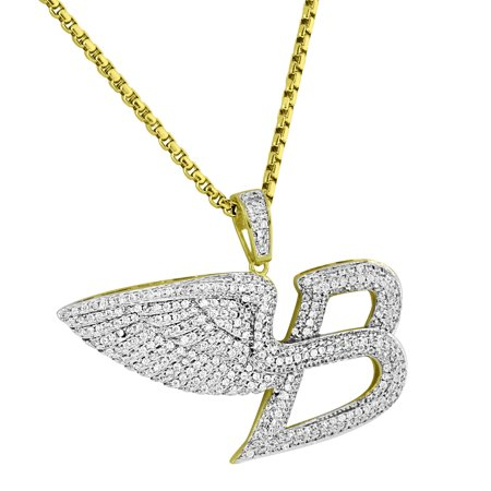 Gold Wig (Luxury Car Logo Angel Wings Pendant 14k Gold Finish Pave Lab Diamonds 24