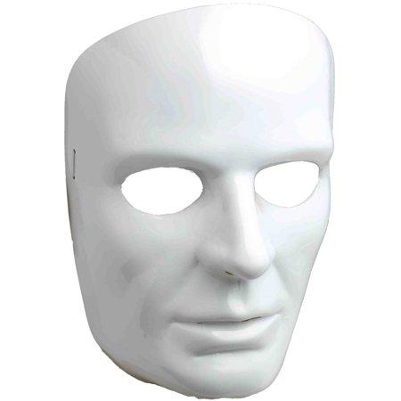 New Halloween Costume Men's Male Blank White Face Mask Facemask - Halloween Costume White Mask