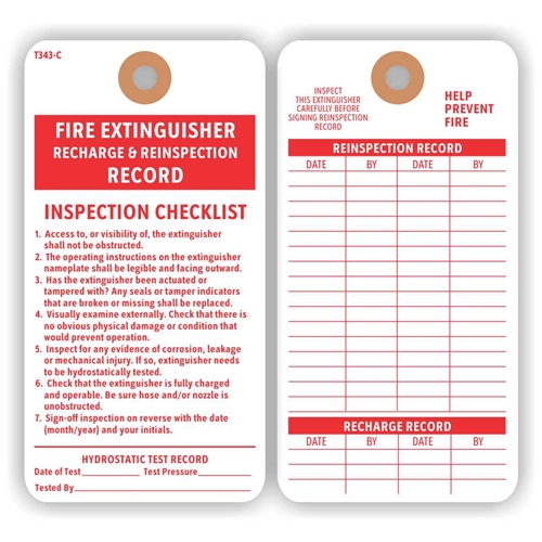 "FIRE EXTINGUISHER RECHARGE & REINSPECTION RECORD Tag with Checklist, Manila Cardstock, Reinforced Hole, 3"" x 5.75"" - PACK OF 100 TAGS"