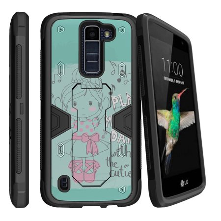 Ballerina Stand - LG K8 | Escape 3 Dual Layer Shock Resistant MAX DEFENSE Heavy Duty Case with Built In Kickstand - Ballerina Girl