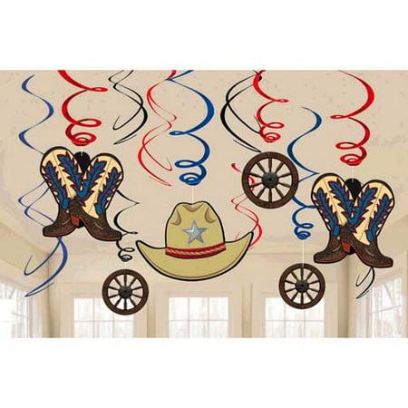 Western 'Yeehaw' Hanging Swirl Decorations (12pc)](Western Decoration)